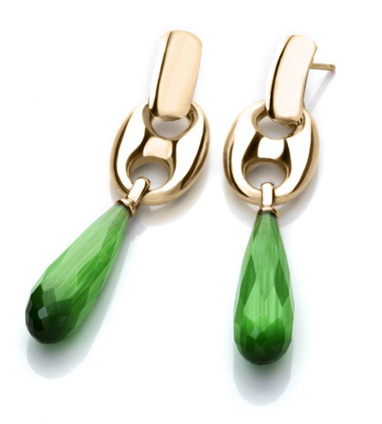 Orecchino con maglia marina e goccia pendente (Verde)
